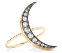 Crescent Moon Ring Aus 18 Karat  Mit Rhodiniertem Detail Und Saphiren