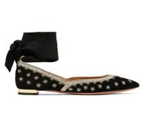 Bliss Verzierte Flache Schuhe aus Veloursleder mit Spitzer Kappe -