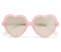 Verspiegelte Sonnenbrille Mit Herzförmigem Rahmen Aus Azetat -