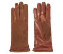 Handschuhe Aus Veloursleder Und Leder -