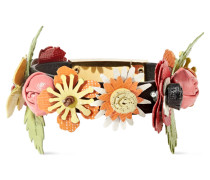 Armband Aus Strukturiertem Leder Mit Floralen Applikationen -
