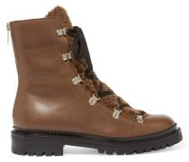 Ankle Boots Aus Leder Mit Shearling-besatz - Braun