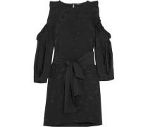 Schulterfreies Minikleid Aus Glänzendem Jacquard Mit Paisley-muster Und Rüschen -