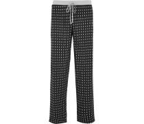 Bedruckte Pyjama-hose Aus Jersey Aus Stretch-modal - Schwarz