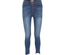 Hoch Sitzende Skinny Jeans in Distressed-optik -