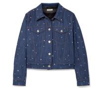 Jeansjacke mit Kristallen -