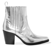Callie Ankle Boots Aus Metallic-leder -