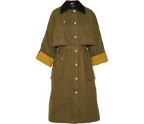Mantel Aus Gewachster Baumwolle Mit Wollbesatz - Armeegrün