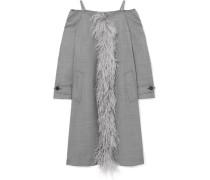 Schulterfreier Mantel Aus Einer Wollmischung Mit Federbesatz -