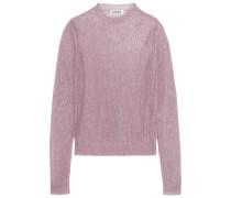 Pullover In Lochstrick In Metallic-optik - Pink