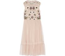 Verziertes Kleid Aus Tüll Mit Spitzenbesatz - Puder