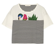 Verziertes T-shirt Aus Gestreiftem Baumwoll-jersey -