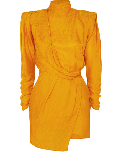 Drapiertes Minikleid aus Glänzendem Jacquard
