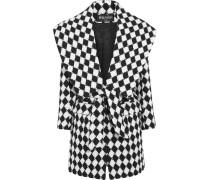 Zweifarbiger Mantel Aus Wolle - Schwarz