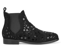 Chelsea Boots Aus Veloursleder Mit Applikationen Aus Lackleder - Schwarz