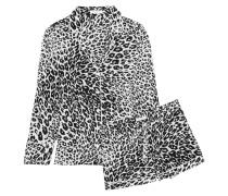 Lillian Pyjama Aus Vorgewaschener Seide Mit Leopardenprint - Schwarz
