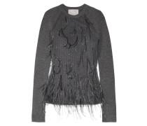 Pullover Aus Einer Gerippten Wollmischung Und Tüll Mit Federnverzierung - Dunkelgrau