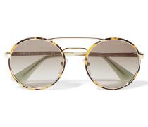 Sonnenbrille Aus Azetat Und Goldfarbenen Metall Mit Rundem Rahmen - Horn