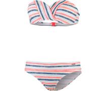 Navaz Bandeau Bikini Damen, blau/koralle/weiß