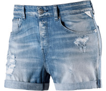 Shorts Damen, blue destroyed denim