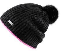 ANTONIA Bommelmütze, schwarz / pink
