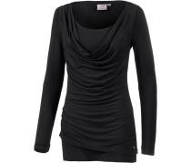 2-in-1 Langarmshirt Damen, schwarz