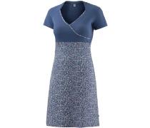 Kurzarmkleid Damen, blau gemustert