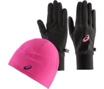 PERFORMANCE Set aus Mütze, Schal und Handschuhe Damen, sport pink