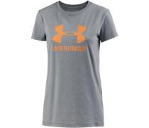 Sportstyle T-Shirt Damen, TRUE GRAY HEATHER/ORANGE PEEL
