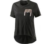 Pocket T-Shirt Damen, schwarz/metallic