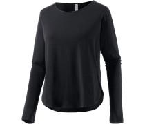 Essential Langarmshirt Damen, schwarz