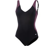 Bodylift Jayne Squared Schwimmanzug Damen, black/fluo pink