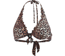 Bikini Oberteil Damen, braun/animal