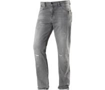 Fabijan Slim Fit Jeans Herren, grey destroyed denim