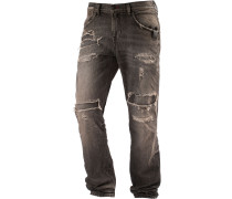 FABIJAN Slim Fit Jeans Herren, black destroyed denim