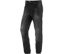 Noah Slim Fit Jeans Herren, black destroyed denim
