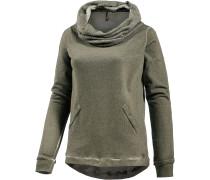 Sweatshirt Damen, oliv washed