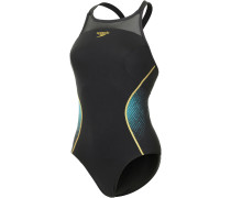 Pinnacle Xback Schwimmanzug Damen, schwarz/gold/petrol