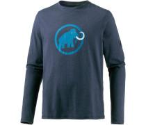 Logo Langarmshirt Herren, blau