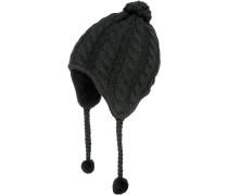 Fuzzy Ear Bommelmütze Damen, schwarz