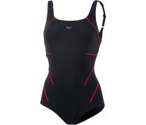 Bodylift Schwimmanzug Damen, black/papavero