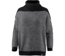 Block Turtle Knit Rollkragenpullover Damen, black white