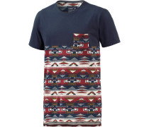 37 Degrees North T-Shirt Herren, blau/rot/beige