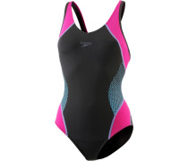 Fit Splice Muscleback Schwimmanzug Damen, black/electric pink/tuquoise