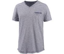V-Shirt Herren, dunkelblau gestreift