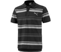 Sports Stripe Poloshirt Herren, schwarz