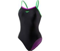 Thinstrap Muscleback Schwimmanzug Damen, schwarz/grün/pink