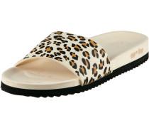 Pool Print Pantoletten Damen, beige leopard