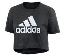 Aeroknit Crop T-Shirt Damen, schwarz