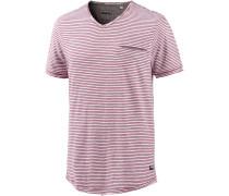 V-Shirt Herren, weinrot gestreift